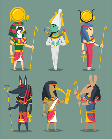 heliopolis: Egyptian Gods and Egypt Goddesses, with Osiris, Isis, Horus, Set, Anubis, Hath-or, Ra, Thoth. Vector illustration cartoon.
