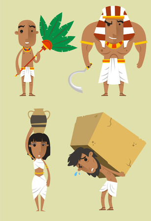 Egypt Egyptian People Pharaoh Woman Man Strength vector illustration.