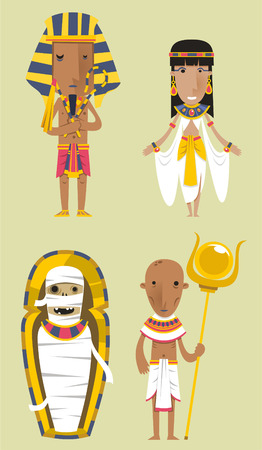 egypt anubis: Egypt Egyptian People Pharaoh Caduceo Clothes vector illustration.