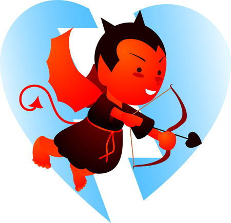 Evil Cupid looking for a heart to break