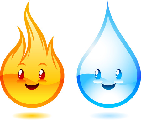 Fire and water cartoon characters. Ilustracja