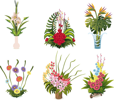cut off head: Flower arrangements cartoon illustrations to celebrate special occasion Illustration