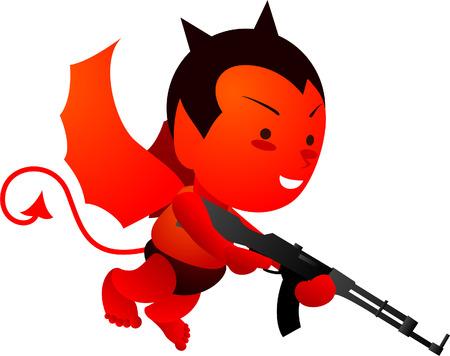 Flying little devil with machine gun 向量圖像
