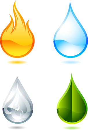 fire water: Nature elements symbols. With fire, water, air and green earth drop vector illustration cartoon.
