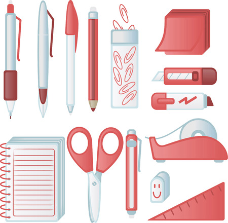 Friendly office supply icons, with pen, pencil, clip, sticky notes, sharpener, cuter, cutter, marker, scotch tape, scotch, rubber, set-square, scissors, notepad, notebook. Vector illustration cartoon.