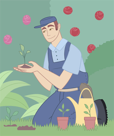 formal garden: Gardener gardening garden park plants flower fruits landscape Illustration