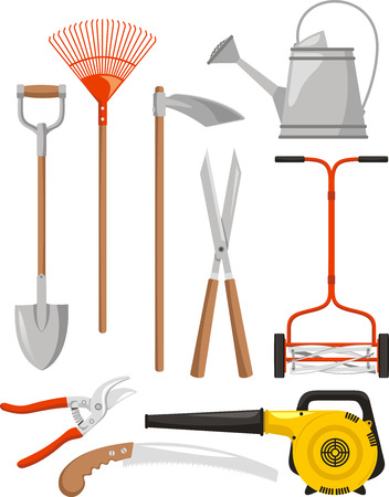 Gardening Equipment, such us: lawn rake, spade, long handled shears, rake, hand fork, gardening gloves, wheelbarrow, pruners, trowel, leaf vacuum, watering can, sprinkling can, scythe, lawnmower, mower. Vector illustration cartoon. Ilustração