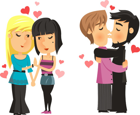 Cartoon homoseksuele paren in de liefde vector illustratie. Stock Illustratie