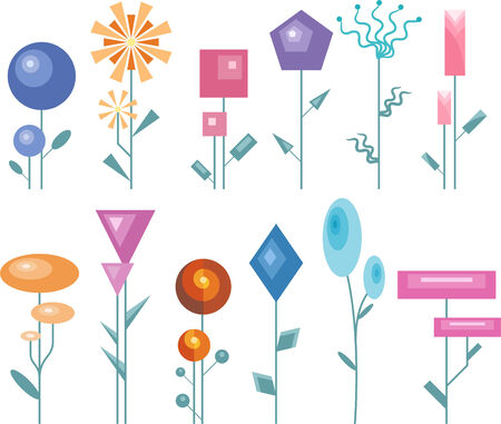 modern and geometric garden flower collection. Vector
