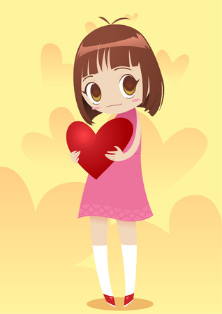 one person only: Little girl holding a heart vector illustration