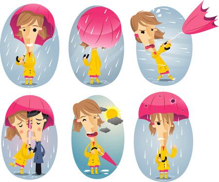 couple in rain: Cartoon girl in a storm holding umbrella Illustration