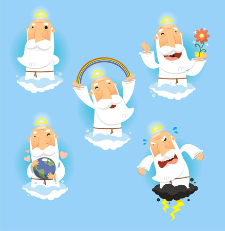 cartoon earth: God in Heaven set, with God standing contemplating, God making a rainbow, God happy with nature, God embracing and holding the earth and angry and furious God. Vector illustration cartoon.