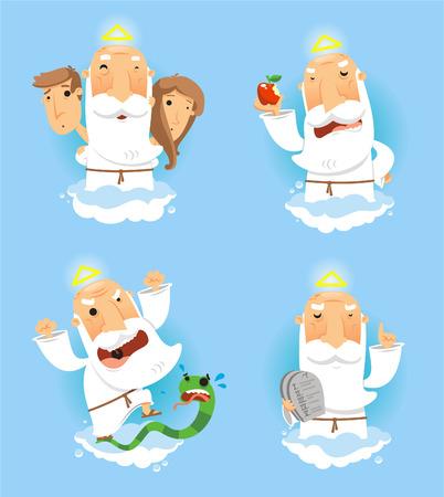 planeta tierra feliz: Dios en el cielo establece, con Adan y Eva, con dios con manzana, con dios enojado con la serpiente tentación y Dios con el diez mandamientos bordo ilustración vectorial. Vectores