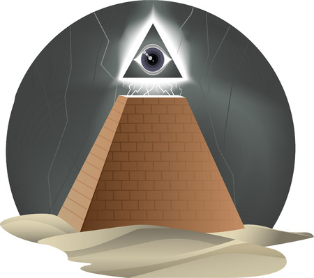 ojo de horus: Todo el ojo que Rage Furioso Dios Horus pir�mide de la religi�n, ilustraci�n vectorial de dibujos animados.