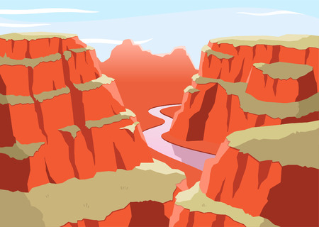 Grand Canyon National Park Arizona United States Colorado Plateau seven natural wonders, vector illustration cartoon.