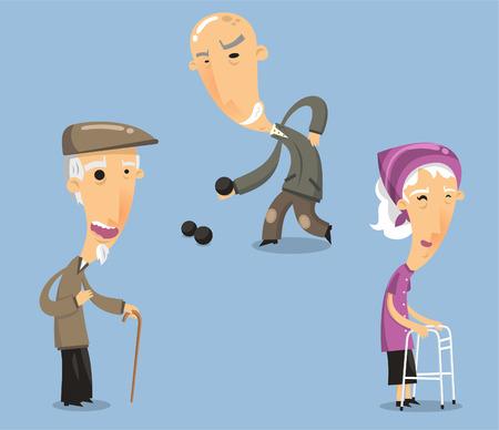 hombres maduros: Abuelos abuelo abuela abuelo abuelita Tercera edad. Ilustraci�n vectorial de dibujos animados.