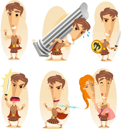 hercules: Greek hero cartoon  illustration set