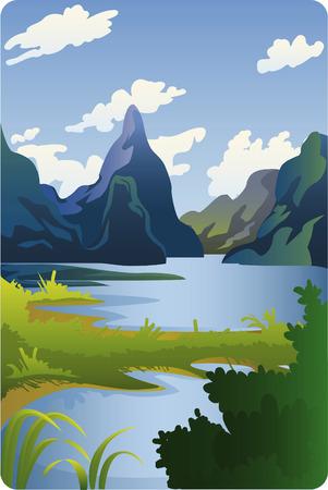 dal berg met rivier en bergen landschap cartoon illustratie.