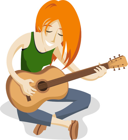 teenagers only: Girl playing guitar illustration