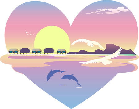 Heart beach resort landscape, with white birds and clouds, and blue dolphins. Sunset, sunrise view. Vector illustration.