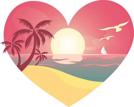 Heart beach landscape, with white birds and sailing boat. Sunset, sunrise view. Vector illustration. Vector