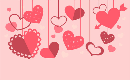 Heart decoration with many pink hearts in different sizes and shapes. Different textured hearts vector illustration. Stock Illustratie