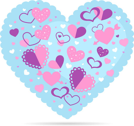 short phrase: Heart design vector illustration, with many hearts in different sizes, shapes and textures inside.