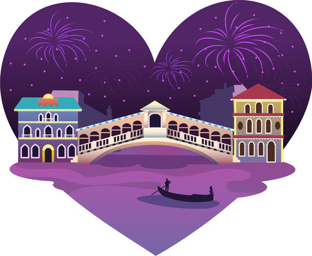Heart shaped Venice View, with fireworks up in a shining star night. Includes vaporetto canoe almost under a bridge.