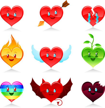 cartoon Heart icon set Vector