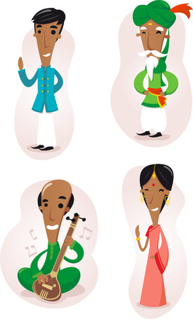 India people cartoon set Stock Illustratie