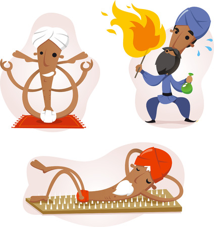 India yogi cartoon set