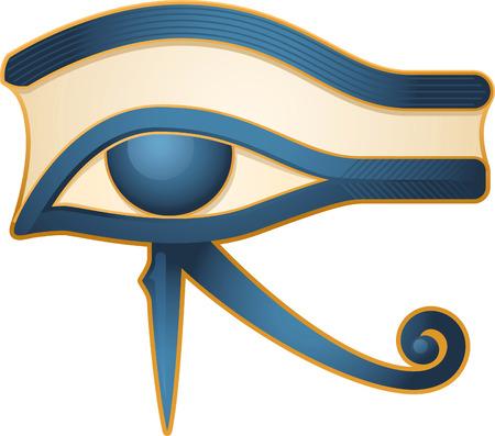 hieroglyphics: The Eye of Horus Egypt Deity, with Egyptian religious myth figure deity. Vector illustration cartoon. Illustration