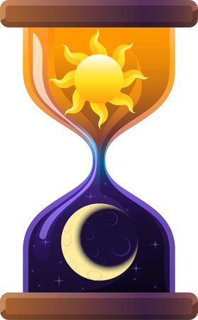 aging process: Hourglass Sun & Moon Sandglass Sand Clock. Vector Illustration Cartoon.