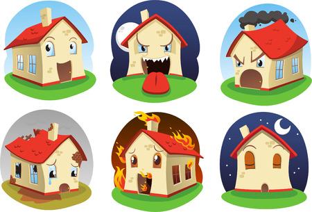 front or back yard: Cartoon house icon set Illustration