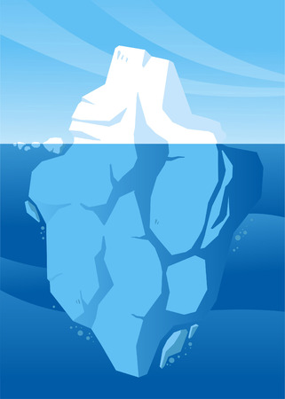 iceberg: The tip of an iceberg showing whilst the rest is submerged. Illustration