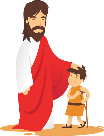 Jesus is aproached by ill boy to be healed.  イラスト・ベクター素材