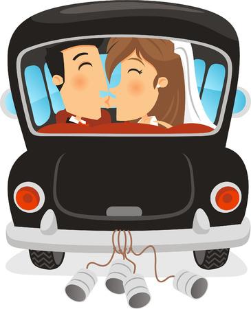 Just Married coche con el novio y la novia besando a su interior. Ilustración vectorial de dibujos animados.