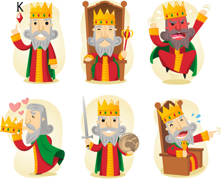 King cartoon illustration set Vettoriali