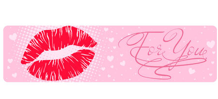 Banner with a lipstick mark Stock Illustratie