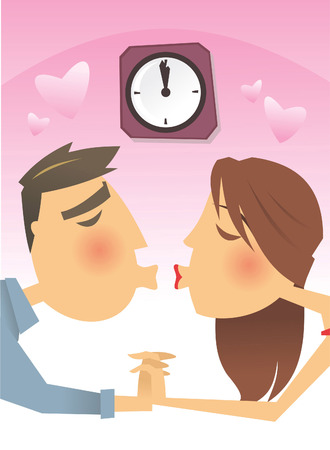 kissing lips: Couple kissing at 12 o clock cartoon illustration Illustration