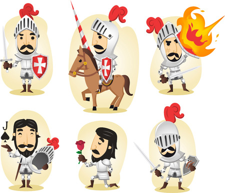 Medieval knight cartoon illustrations