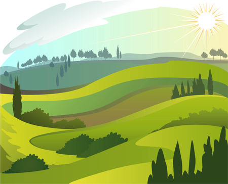 over the hill: Early countryside morning landscape illustration