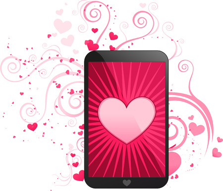 Love app for smartphone, with cute heart shining vector illustration. With hearts in different sizes pattern.