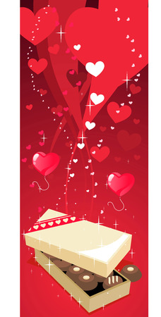 i love you symbol: Chocolate box cartoon background banner Illustration