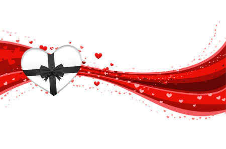 Heart shaped present in love lines design backround vector illustration.