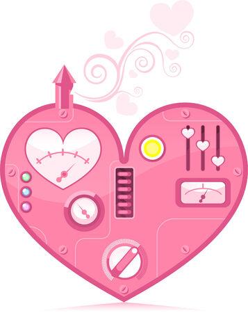 Leuke roze Loving Heart machine uiting van liefde vector illustratie. Stockfoto - 33983328