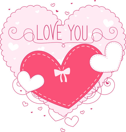 i love you: I love you heart with inner heart for writing message vector illustration.