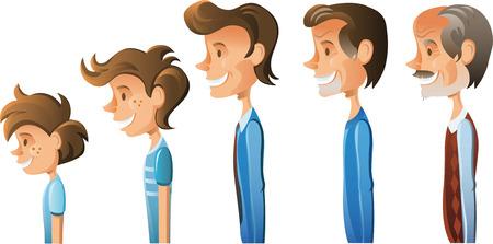 hombres maduros: Edades de hombres ilustraci�n de dibujos animados Vectores