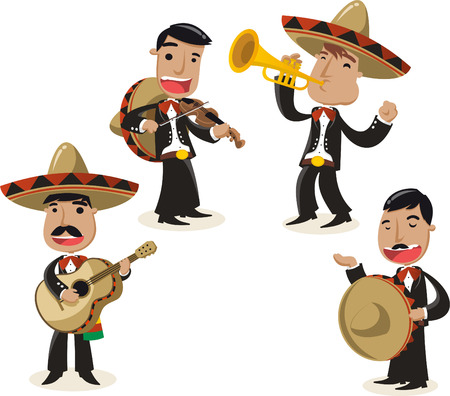 mariachi: Mariachi music band musicians illustration