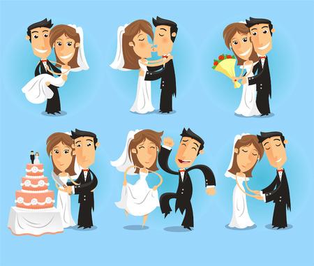 recien casados: La novia y el banquete de boda del novio ilustración vectorial. Vectores